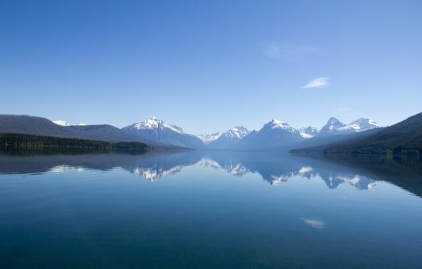 Картинка небо, снег, горы, природа, озеро