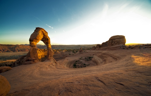Картинка закат, скала, каньон, США, sunset, utah, arches national park, delicate arch