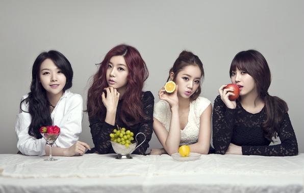 Картинка музыка, девушки, еда, фрукты, азиатки, Южная Корея, певицы, Girls Day, K-pop