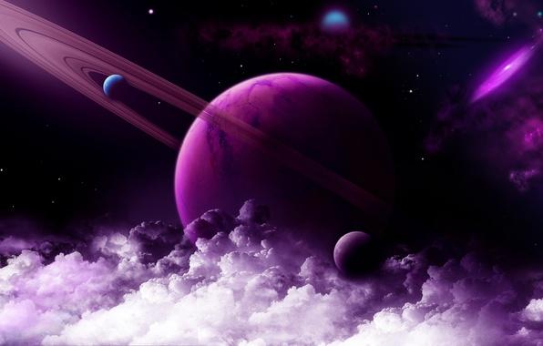 Картинка космос, звезды, облака, планеты