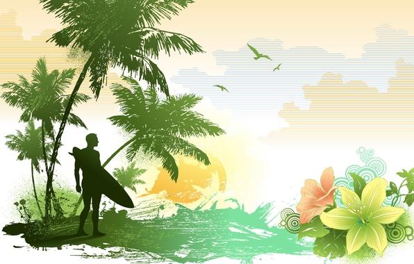 Картинка лето, облака, круги, цветы, пальмы, рисунок, лилии, чайки, вектор, лепестки, серфер