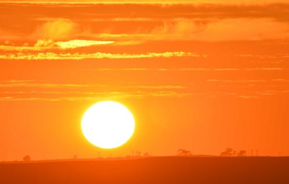 Фото обои небо, солнце, пейзаж, рассвет