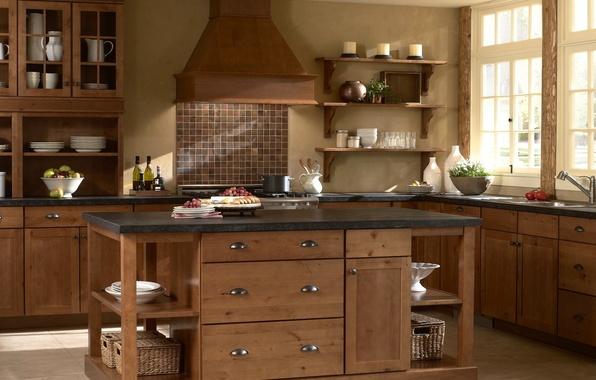 Обои картинки фото интерьер кухня