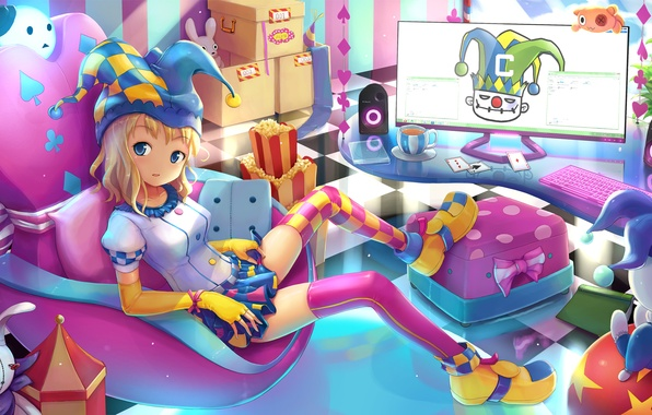 Картинка комната, джокер, карта, аниме, арт, девочка