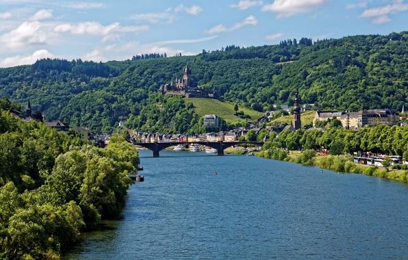 Картинка деревья, мост, река, замок, берег, гора, дома, Германия, Cochem, Reichsburg, теплоходы
