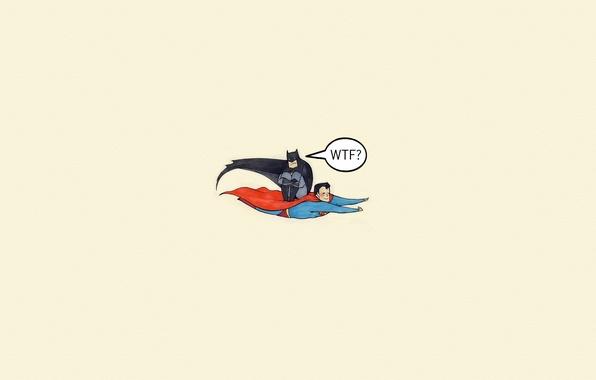Картинка полет, batman, надпись, ситуация, минимализм, бэтмен, Супермен, комикс, Superman, WTF