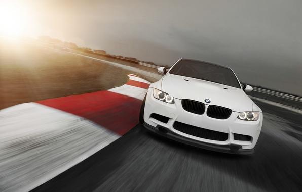 Картинка солнце, BMW, white, блик, трек, E92, 3 Series