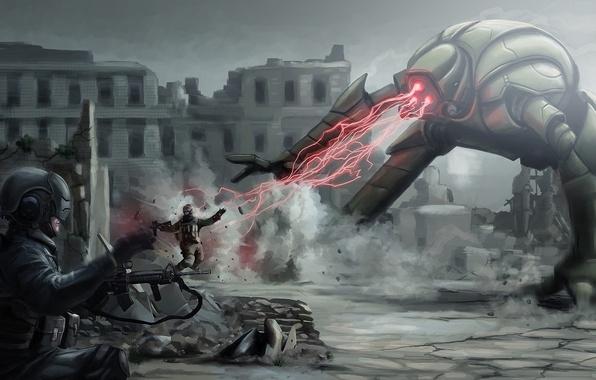 Картинка оружие, дым, робот, монстр, луч, арт, автомат, солдаты, лазер, шлем, руины, битва, digitalinkrod