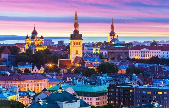 Картинка здания, Эстония, Таллин, панорама, ночной город, Tallinn, Estonia