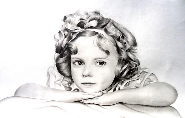 Картинка белое, рисунок, ребенок, черное, девочка