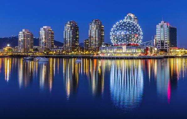 Картинка вода, ночь, город, огни, отражение, здания, дома, лодки, Канада, Ванкувер, музей, Canada, Vancouver, Yaletown