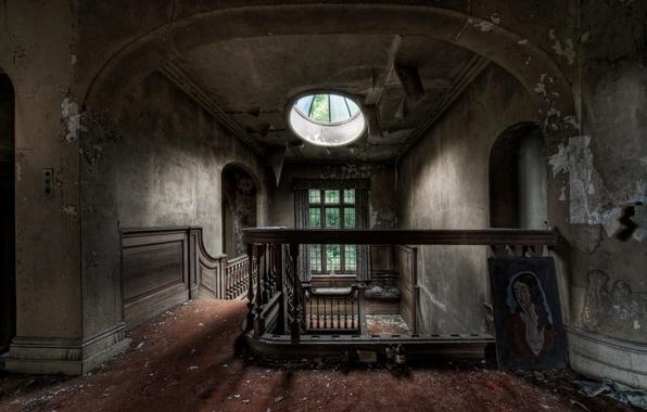 Картинка дом, мусор, картина, окно, лестница, заброшенное