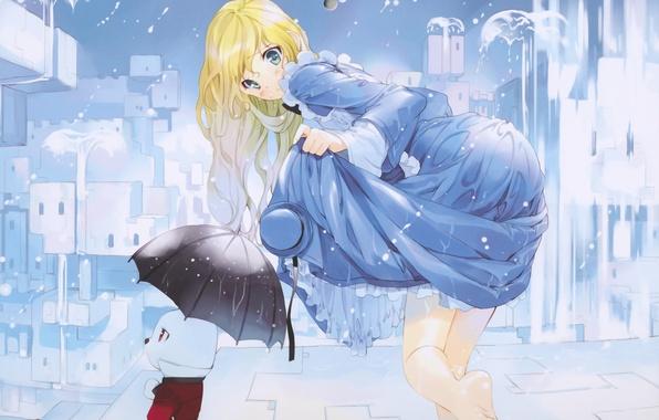 Картинка девушка, капли, город, дождь, дома, шляпа, зонт, аниме, кролик, арт, ueda ryou