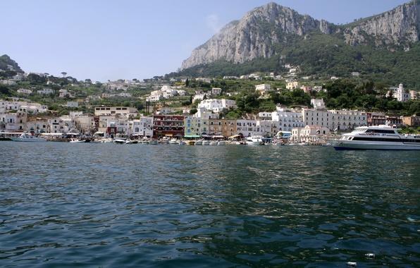 Картинка море, лес, небо, горы, природа, город, фото, дома, яхта, Италия, Capri