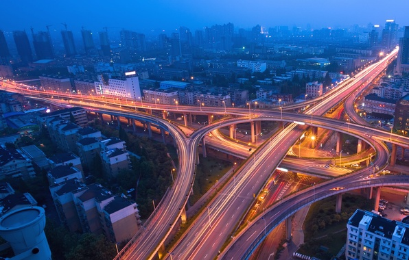 Картинка дорога, ночь, lights, огни, движение, трафик, эстакада, мегаполис, traffic, Night city, blue mist