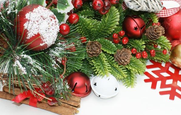 Картинка шарики, праздник, шары, игрушки, елка, ель, ветка, Новый Год, Рождество, красные, белые, корица, Christmas, шишки, …