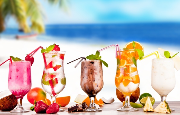 Картинка summer, напитки, beach, fresh, коктейли, fruit, drink, tropical, cocktails