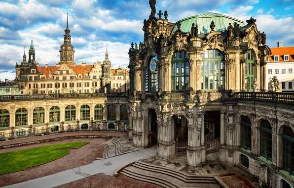 Картинка город, здания, Германия, Дрезден, архитектура, Germany, Dresden, Deutschland, Альтштадт, Altstadt