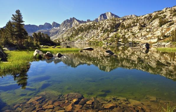 Фото обои озеро, пейзаж, небо, горы, деревья, скалы, камни
