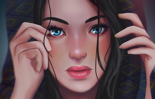 Картинка глаза, взгляд, девушка, лицо, волосы, руки, арт, капюшон