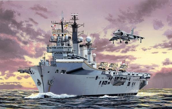 Картинка самолет, рисунок, корабль, авианосец, ILLUSTRIOUS