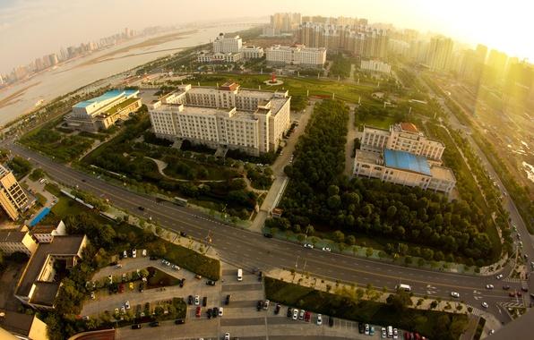 Картинка дорога, солнце, пейзаж, машины, city, город, здания, высота, горизонт, панорама, строения, scenery, building, Best view, …