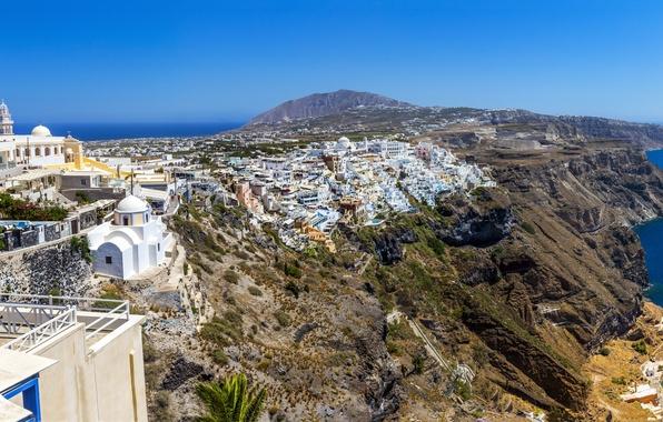 Картинка море, небо, город, скалы, побережье, дома, Греция, горизонт, Santorini