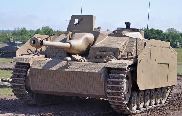 Картинка войны, установка, бронетехника, артиллерийская, орудие, немецкая, StuG III, самоходно, мировой, Второй, времён, штурмовое, средняя, Sturmgeschütz …