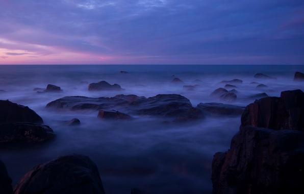Картинка небо, облака, закат, камни, океан, сиреневый, берег, побережье, вечер, Австралия