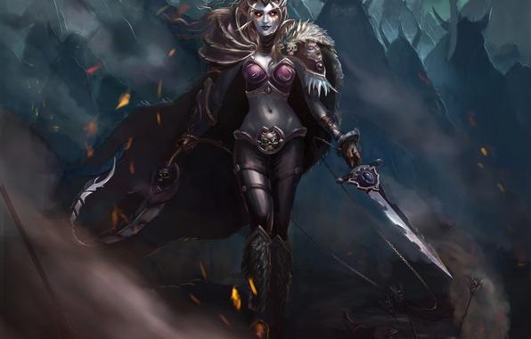 Картинка взгляд, оружие, эльф, доспехи, Fantasy, плащ, темная эльфийка