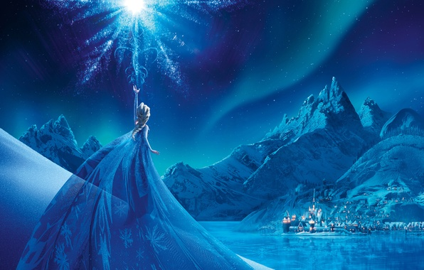 Картинка Girl, City, Light, Frozen, Disney, Fantasy, Sky, Beautiful, Stars, Blue, Winter, Frost, Anna, big, Night, ...