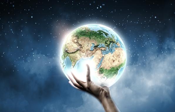 Фото обои креатив, земля, планета, рука, звёзды