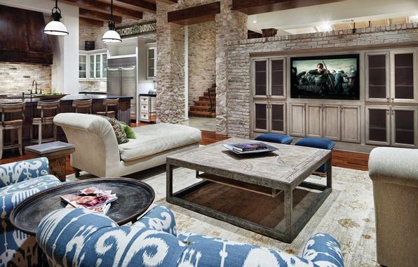 Картинка дома, интерьер, телевизор, кресла, кухня, столик, гостиная, interior, home, desigen, шкафы., дежаки
