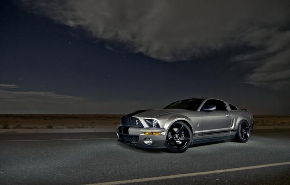Картинка небо, облака, ночь, Mustang, Ford, Shelby, GT500, мустанг, серебристый, мускул кар, форд, шелби, muscle car, …