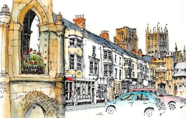 Картинка город, краски, рисунок, башня, дома, Великобритания, автомобиль, Кеворд