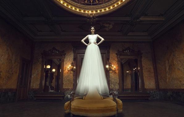 Картинка девушка, комната, платье, арт, призрак, зеркала, невеста, White Ghost