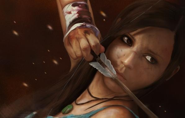 Картинка девушка, кровь, лук, арт, стрела, бинты, рана, Lara Croft, Tomb Raider Reborn