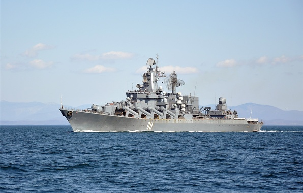 Картинка море, крейсер, ракетный, «Варяг»