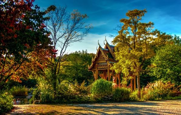 Картинка осень, деревья, пруд, парк, Германия, Бавария, пагода, солнечно, кусты, Munich, Sendling-Westpark
