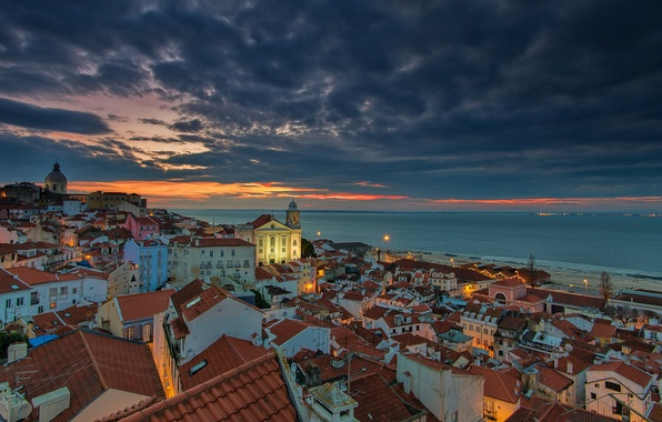 Фото обои sunrise, Portugal, lisbon