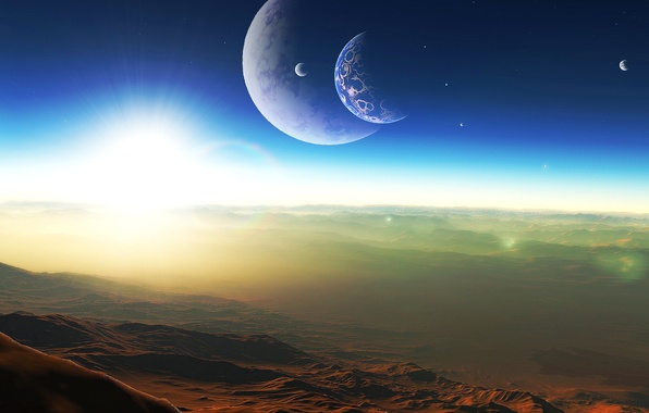 Картинка небо, ландшафт, планета, спутник