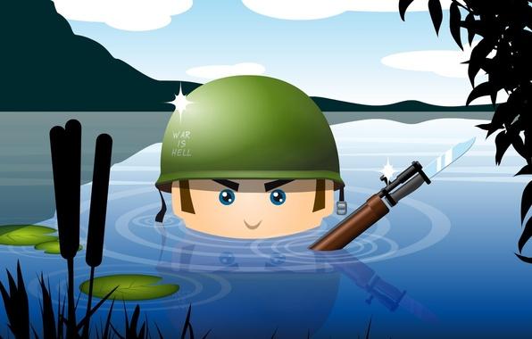Картинка вода, оружие, армия, солдат