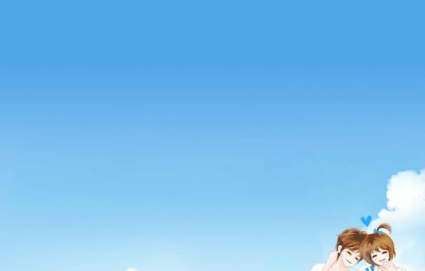 Картинка небо, девушка, счастье, романтика, облако, парень, двое, улыбки, Enakei