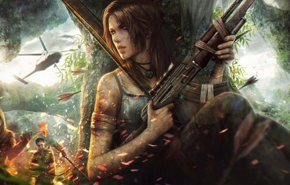 Картинка тропики, остров, погоня, лук, фэнтези, арт, автомат, художник, вертолет, бандиты, Tomb Raider, стрелы, схватка, снаряжение, …