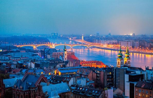 Картинка мост, город, огни, река, здания, дома, вечер, освещение, панорама, Венгрия, Будапешт, Budapest
