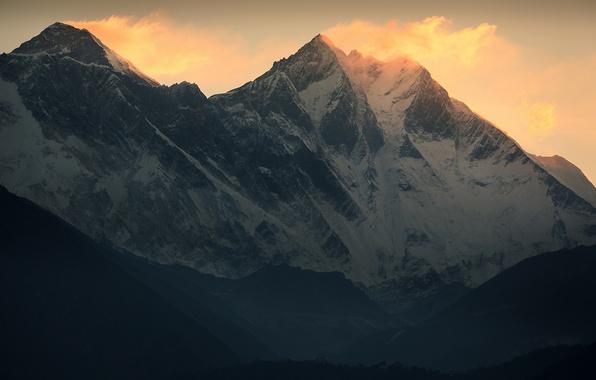 Картинка снег, горы, ветер, Джомолунгма, Эверест, Гималаи, Everest, Lhotse, Лхоцзе
