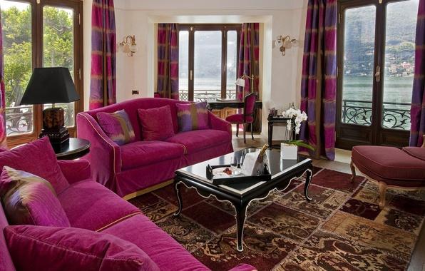 Картинка дизайн, дом, стиль, диван, интерьер, подушки, столик