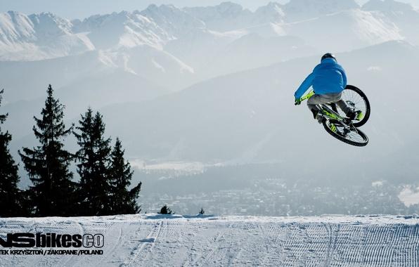 Картинка зима, снег, велосипед, bike, freeride, downhill, MTB, winter.snow