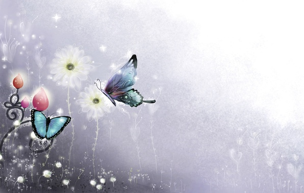 Картинка линии, бабочки, цветы, рисунок, завитки, искры