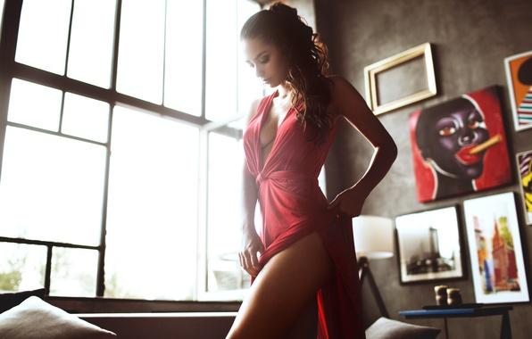 Обои на мобильный телефон helga lovekaty, red dress, sexy girl, девушка, ра